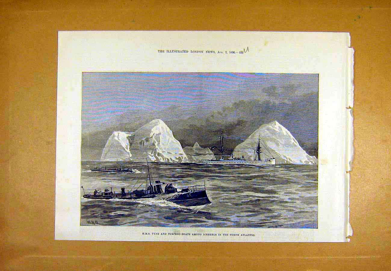 Print Hms Tyne Torpedo Boats Icebergs North-Atlantic Sea 1890 36Uccc1 Old Original