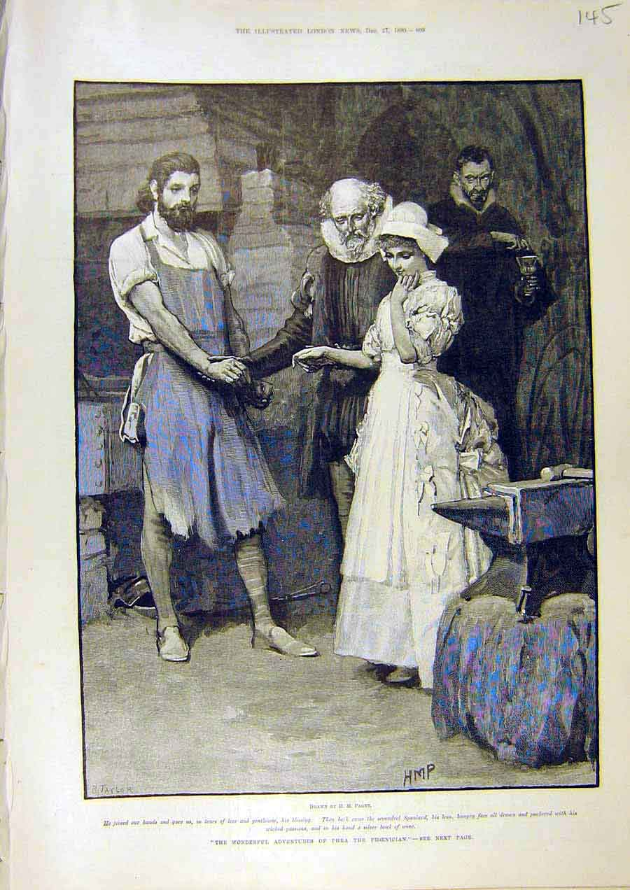 Print Phoenician Adventures Lady Man Paget Taylor 1890 45Ccc1 Old Original