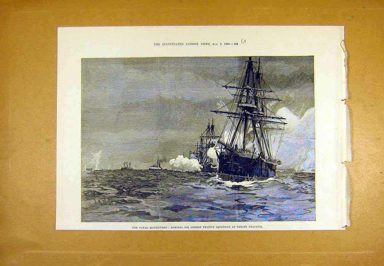 Print Naval Manoeuvres Tryon Squadron Target Practice 1890 64Uccc1 Old Original