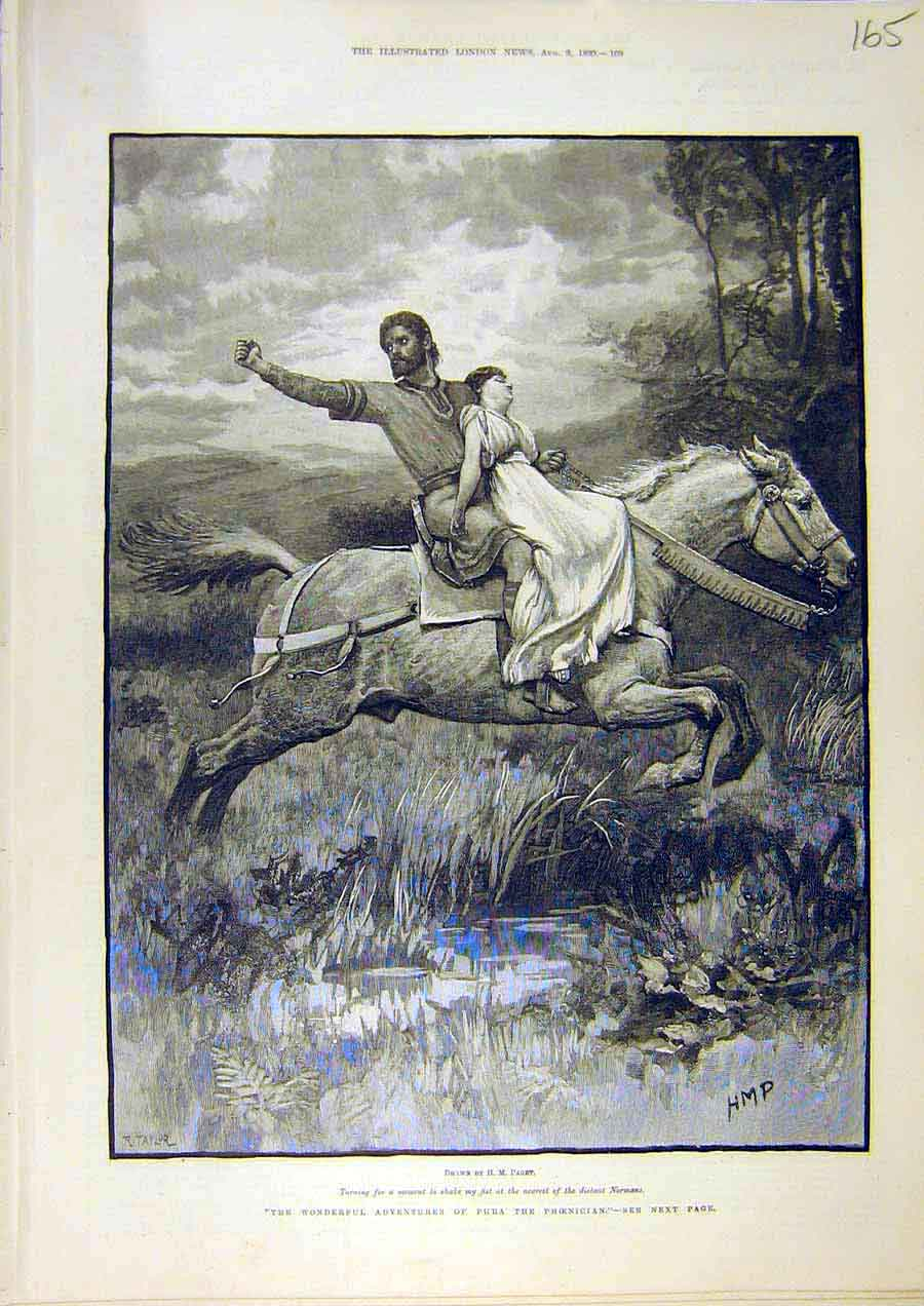 Print Paget Taylor Phoenician Phra Horse Lady Rescue 1890 65Ccc1 Old Original