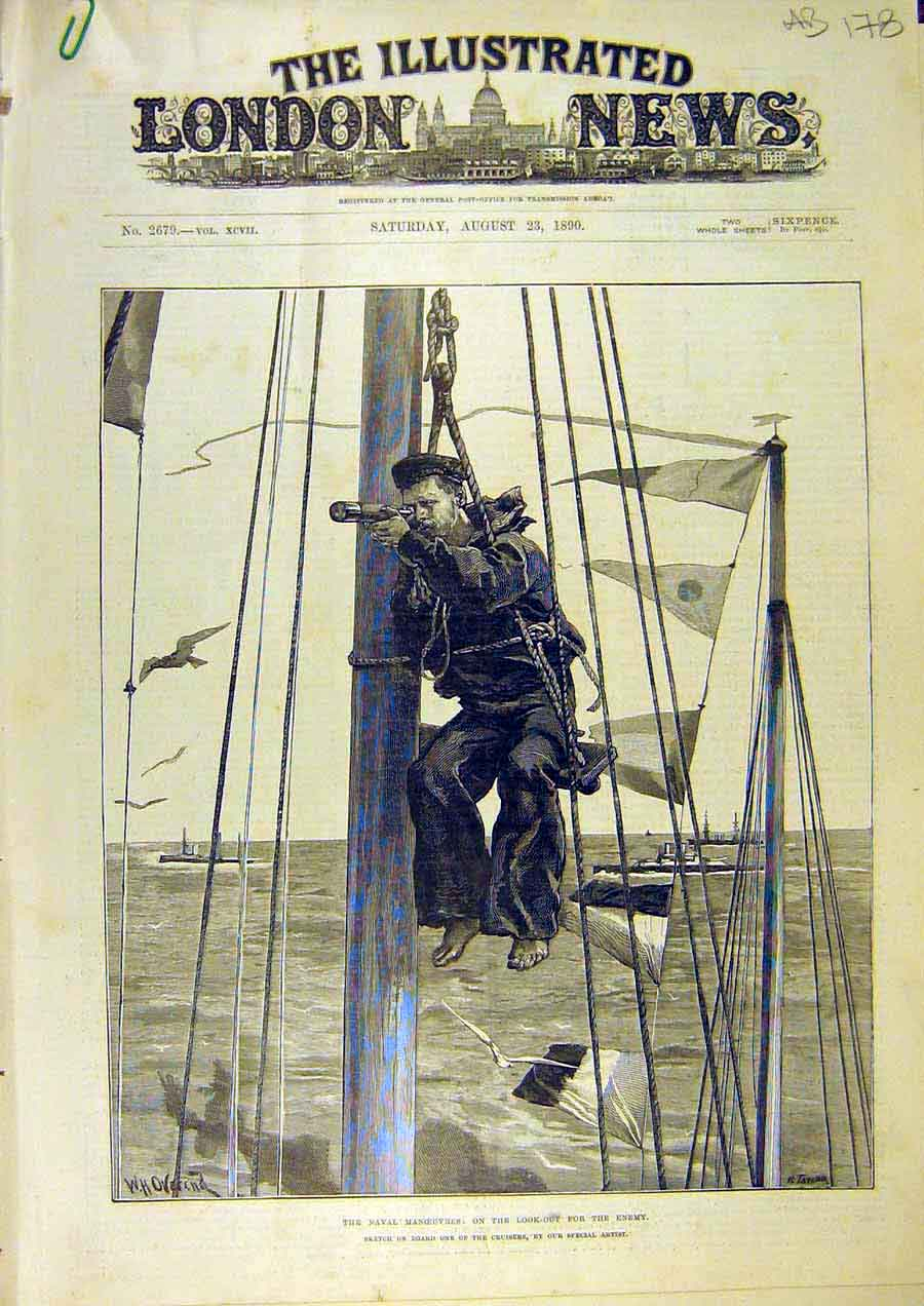 Print Naval Manoeuvres Cruiser Look-Out Adams Baxter 1890 78Accc1 Old Original