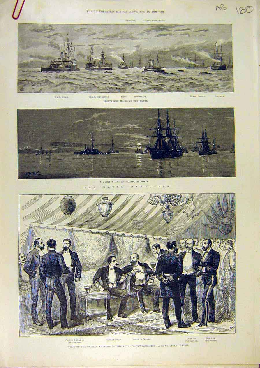 Print Naval Manoeuvres Royal Yacht Squadron Falmouth 1890 80Accc1 Old Original