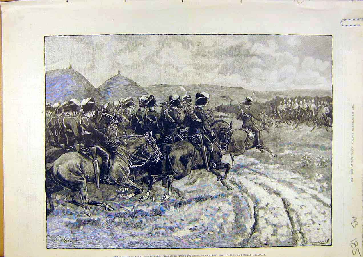 Print Cavalry Manoeuvres Squadron Hussars Dragoons 1890 85Accc1 Old Original