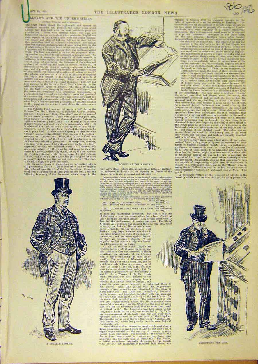Print Lloyd'S Underwriters Broker Sketches Caller Waiter 1890 86Accc1 Old Original