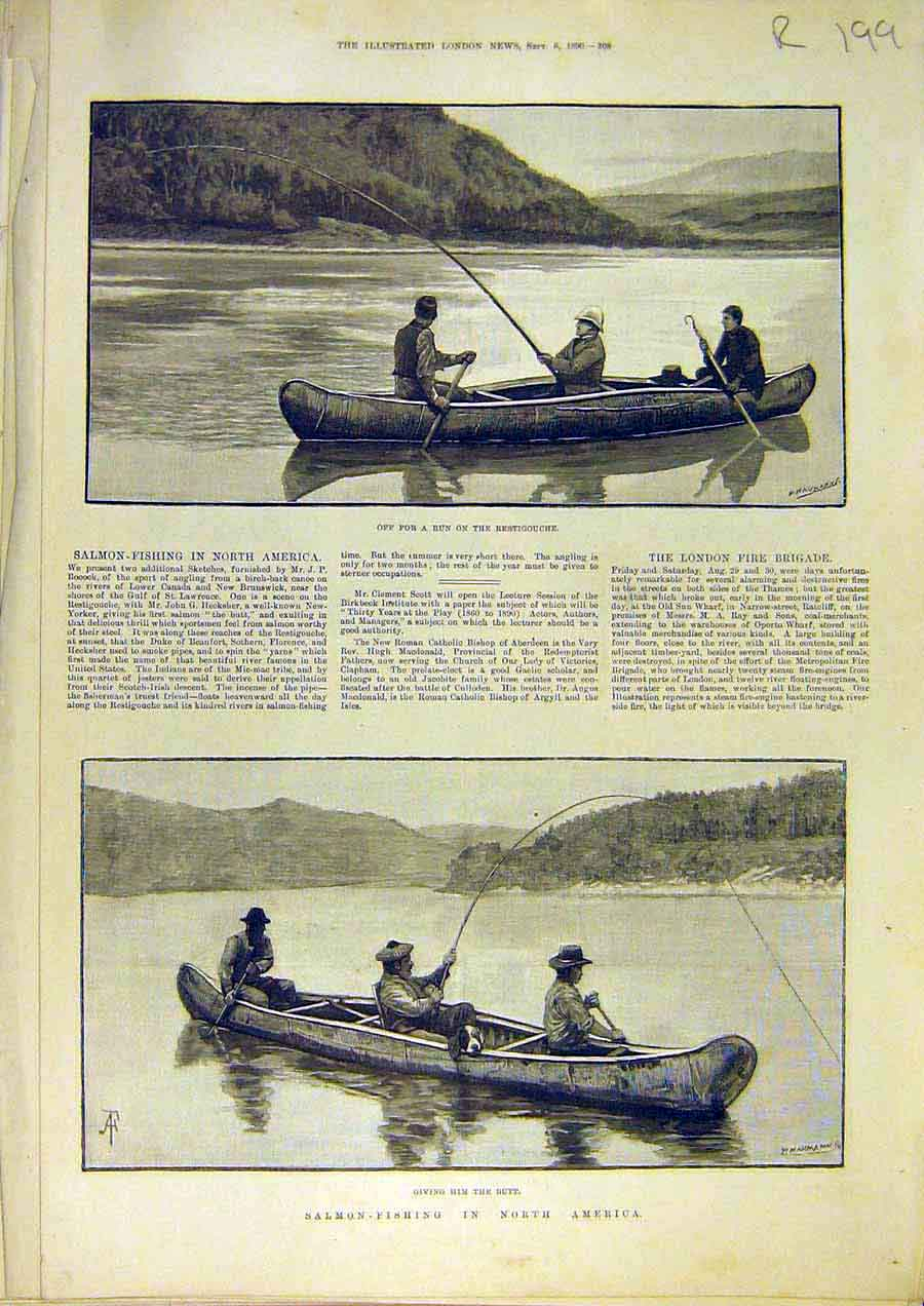 Print Salmon-Fishing America Sailor'S Rest Portsmouth 1890 99Rccc1 Old Original