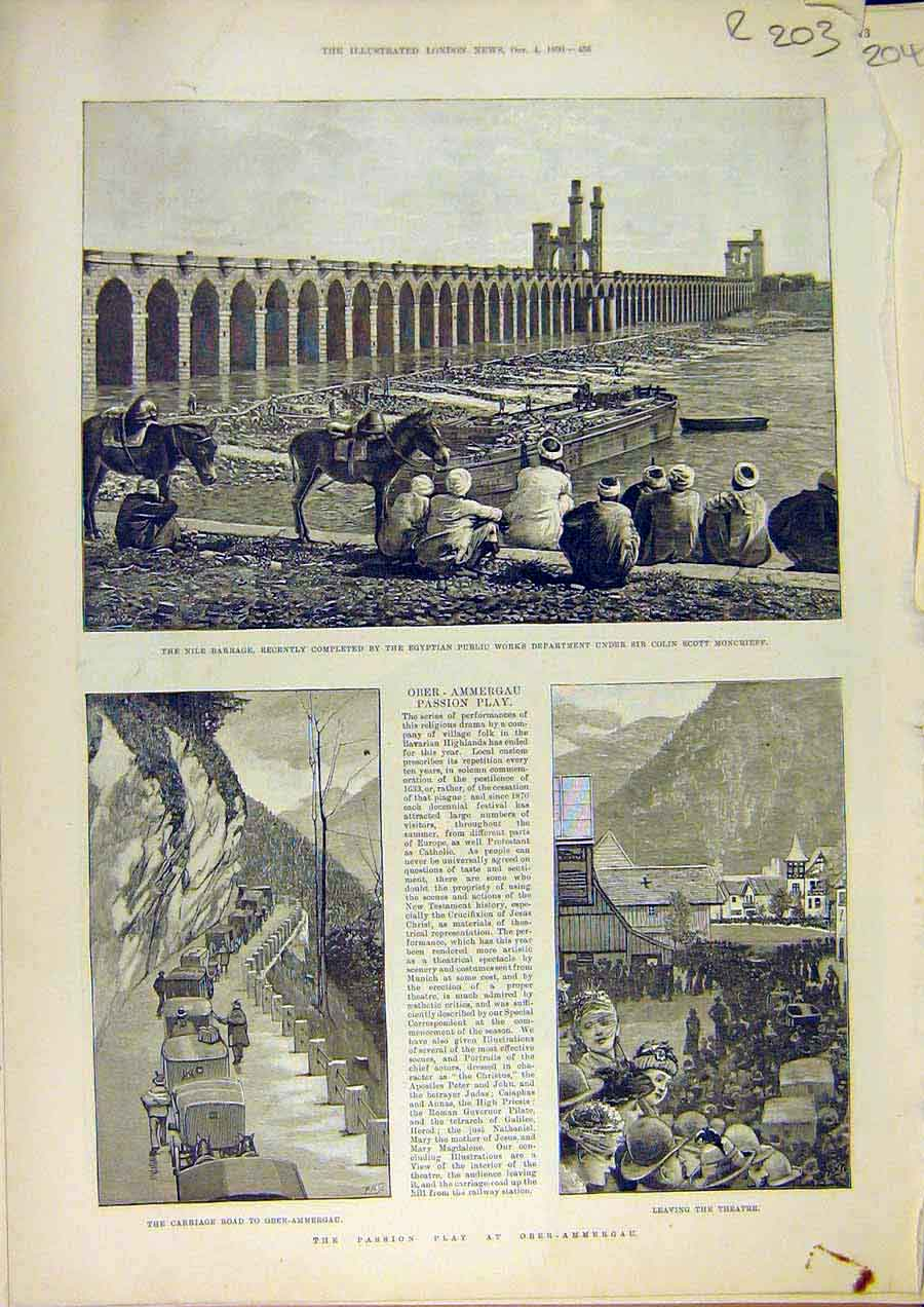 Print Passion Play Aber-Ammergau Religious Westminster School 03Rccc1 Old Original