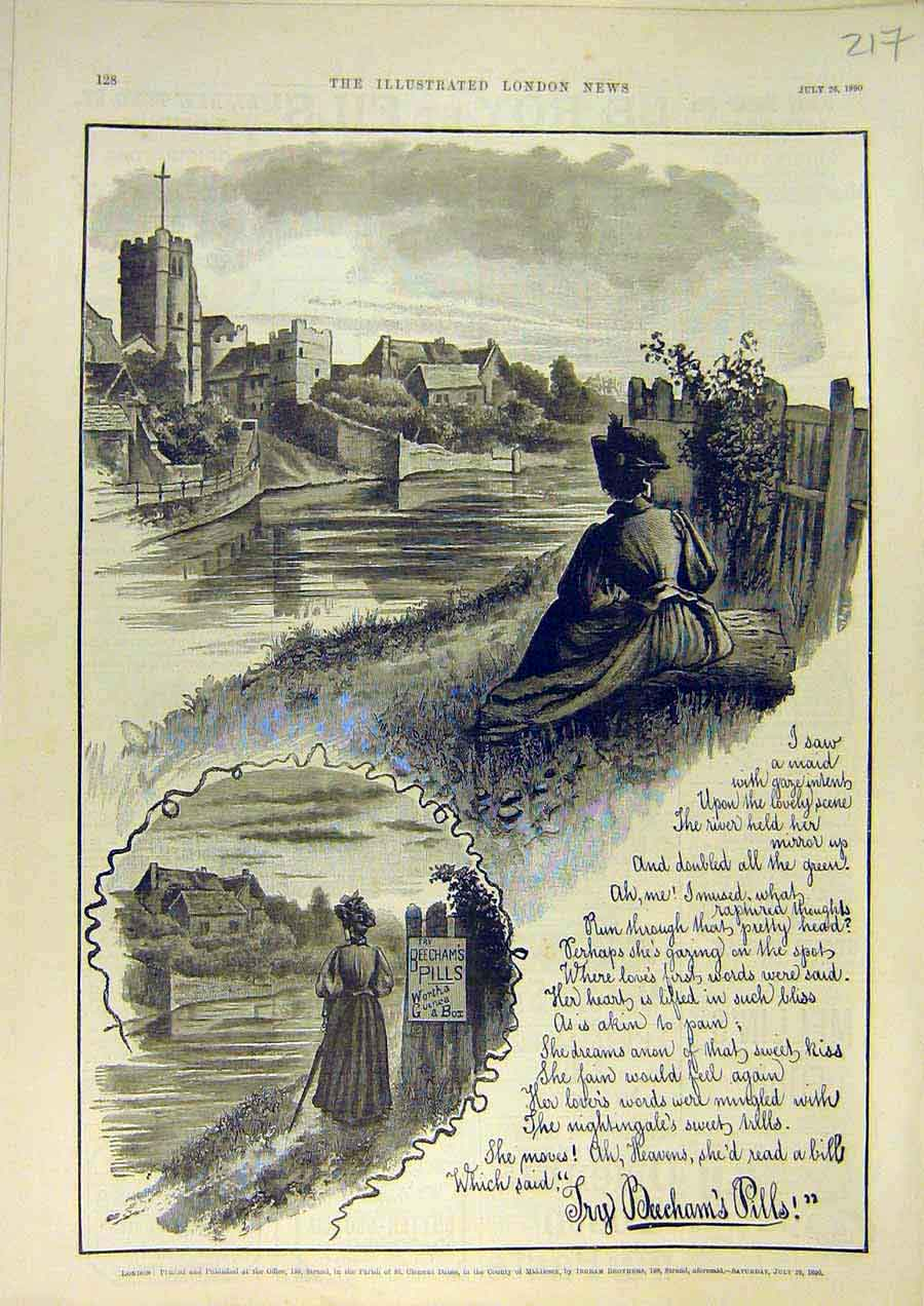 Print Beecham'S Pills Landscape Lady Advert River 1890 17Ccc1 Old Original