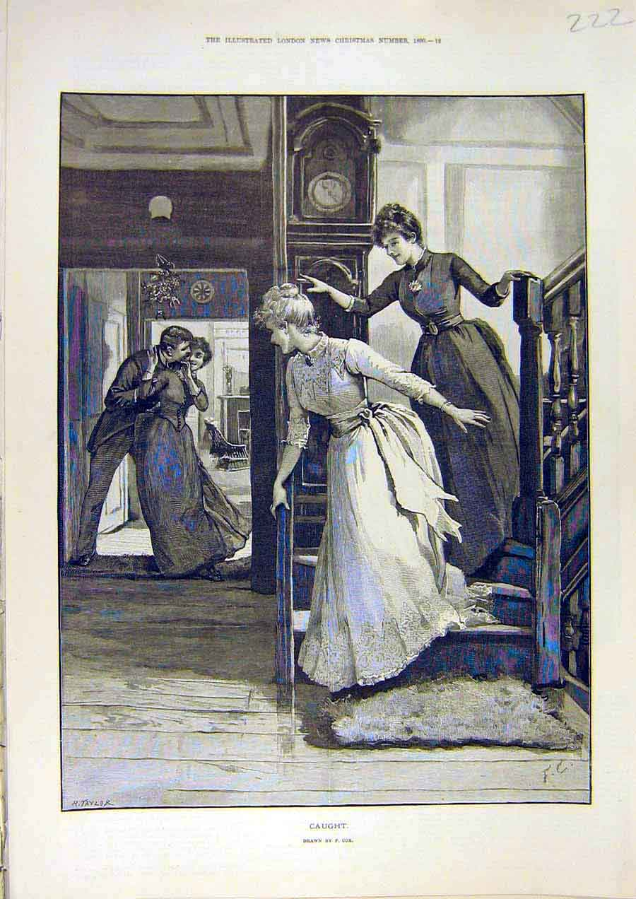 Print Caught Lady Man Romantic Fine Art 1890 Cox 22Ccc1 Old Original
