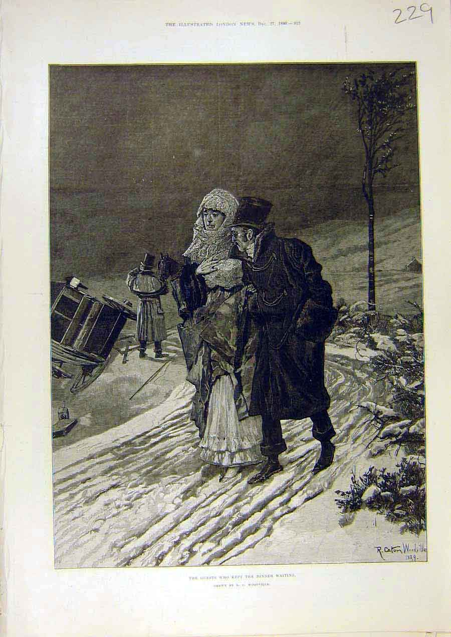 Print Guests Dinner Woodville Carriage Accident Fine Art 1890 29Ccc1 Old Original