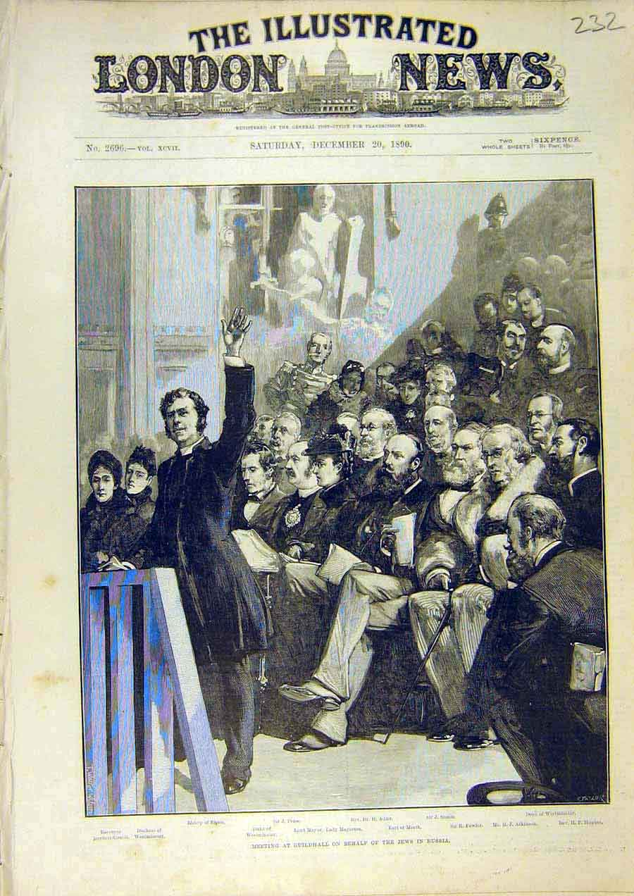 Print Guildhall Jews Russia Mayor Meeting Dean 1890 32Ccc1 Old Original