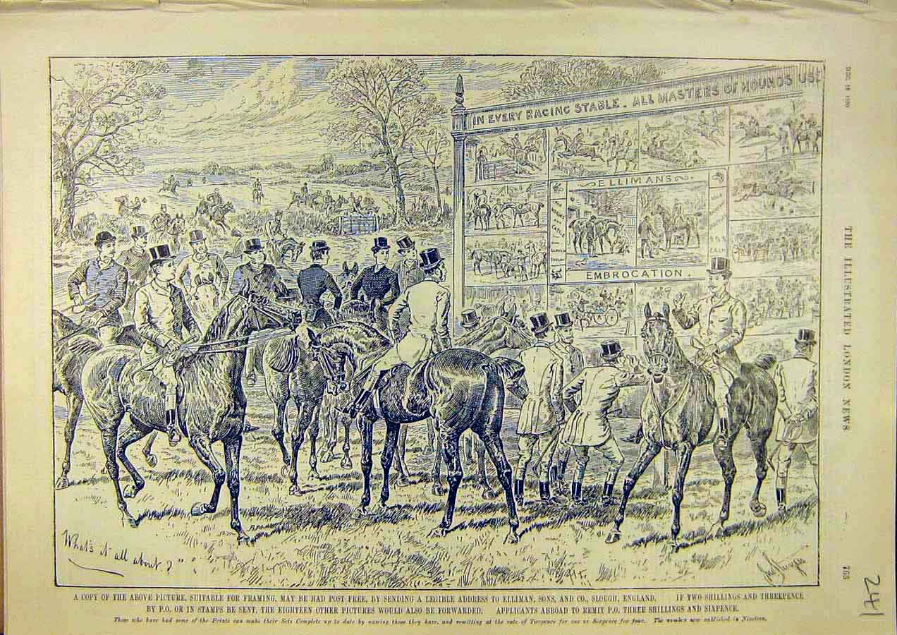 Print Elliman'S Embrocation Racing Horses Steeplchase 1890 41Ccc1 Old Original