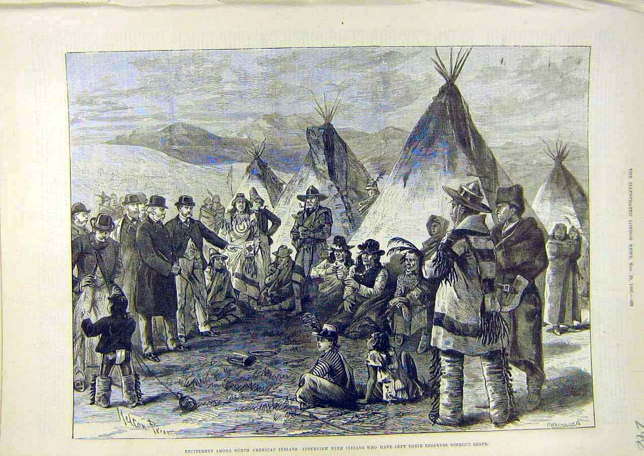 Print North-American Indians Reserve Camp 1890 46Ccc1 Old Original