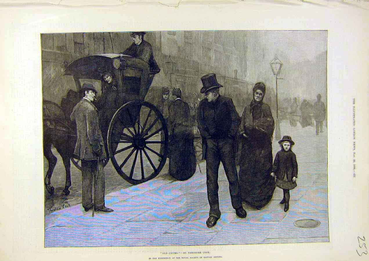 Print Old-Chums Theodore-Cook Carriage Men Family 1890 53Ccc1 Old Original