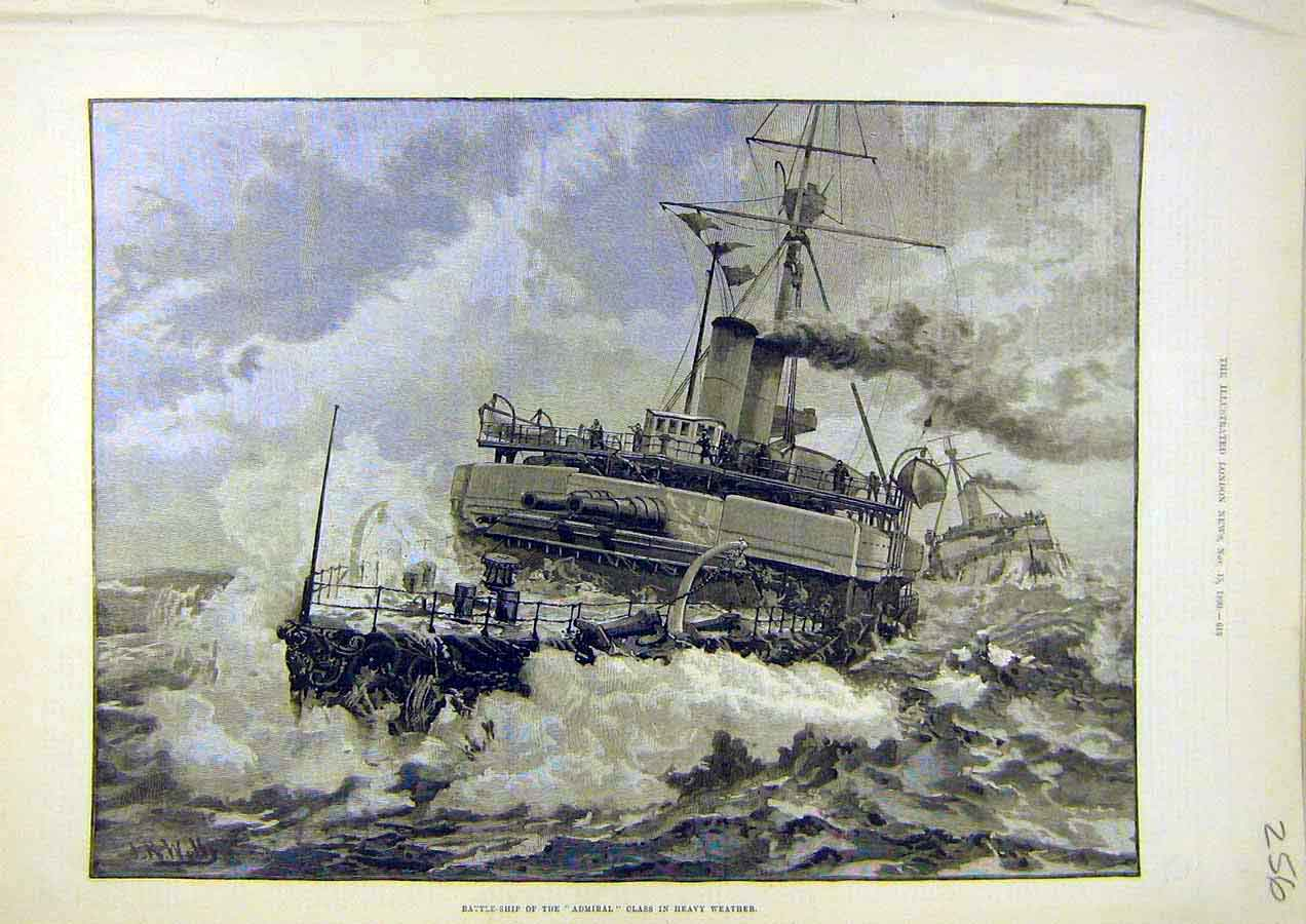 Print Battle-Ship Admiral Heavy-Weather Storm 1890 56Ccc1 Old Original