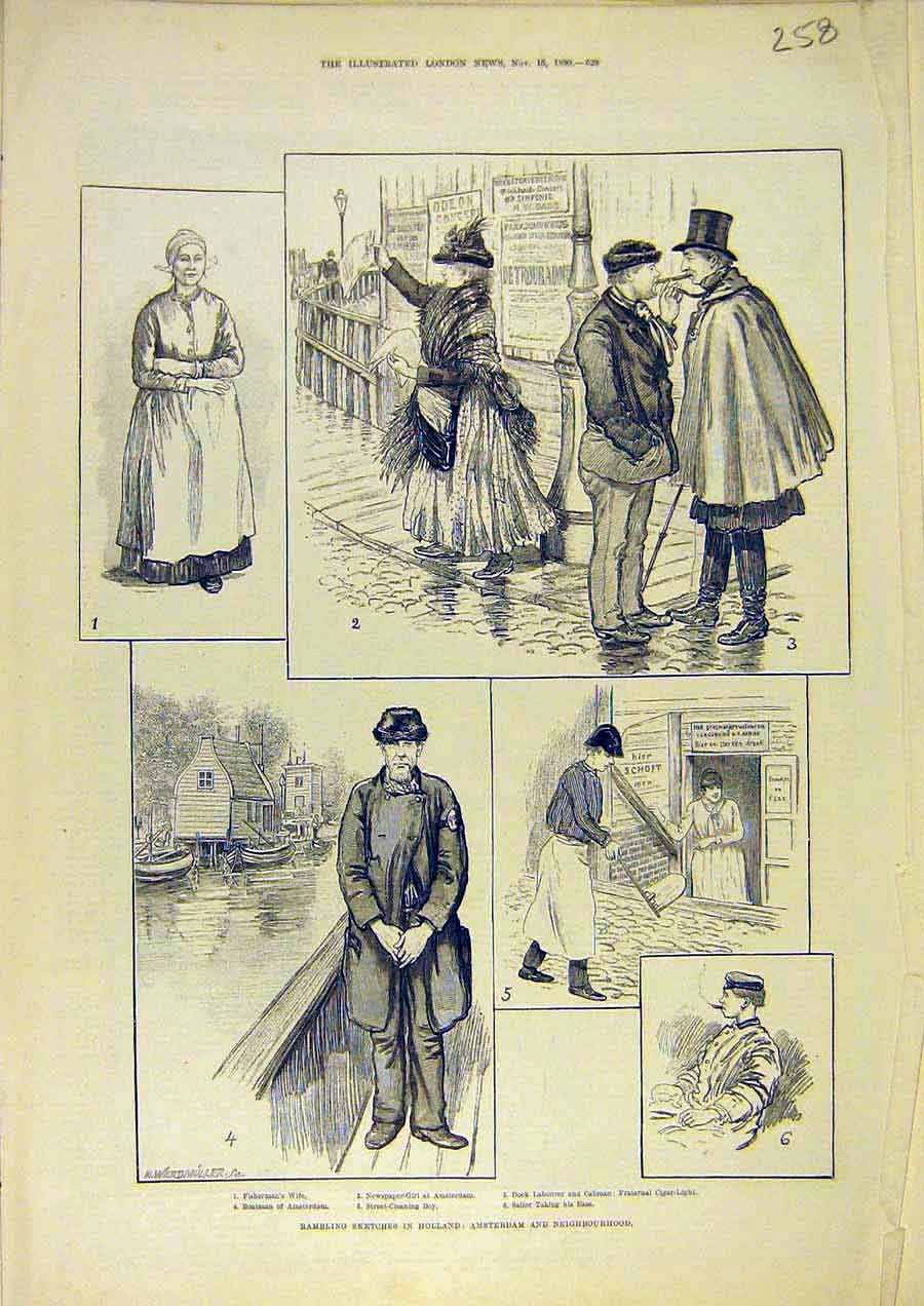 Print Sketches Holland Amsterdam People Places 1890 58Ccc1 Old Original