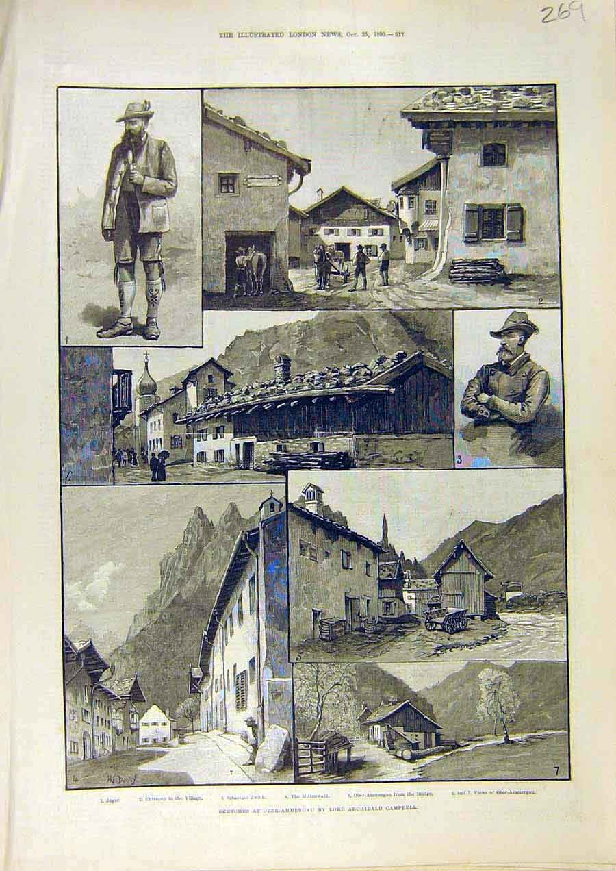 Print Sketches Ober-Ammergau Campbell Jager Bridge Zwink 1890 69Ccc1 Old Original