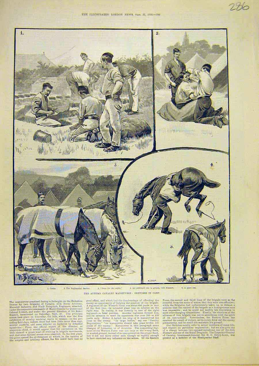 Print Cavalry Manoeuvres Sketches Camp Barber Hussars 1890 86Ccc1 Old Original