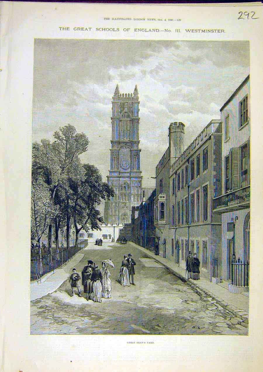 Print Great-Dean'S Yard Westminster Sschool Building 1890 92Ccc1 Old Original