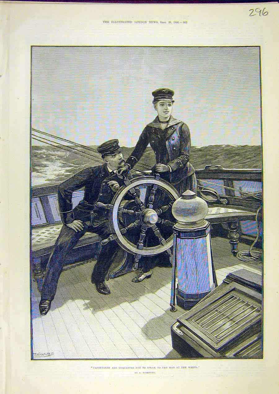 Print Forestier Passenger Ship Boat Wheel Man Fine Art 1890 96Ccc1 Old Original
