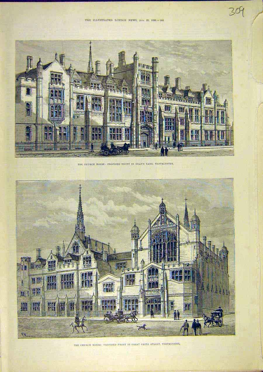 Print Church House Westminster Proposed Front Building 1890 09Ccc1 Old Original