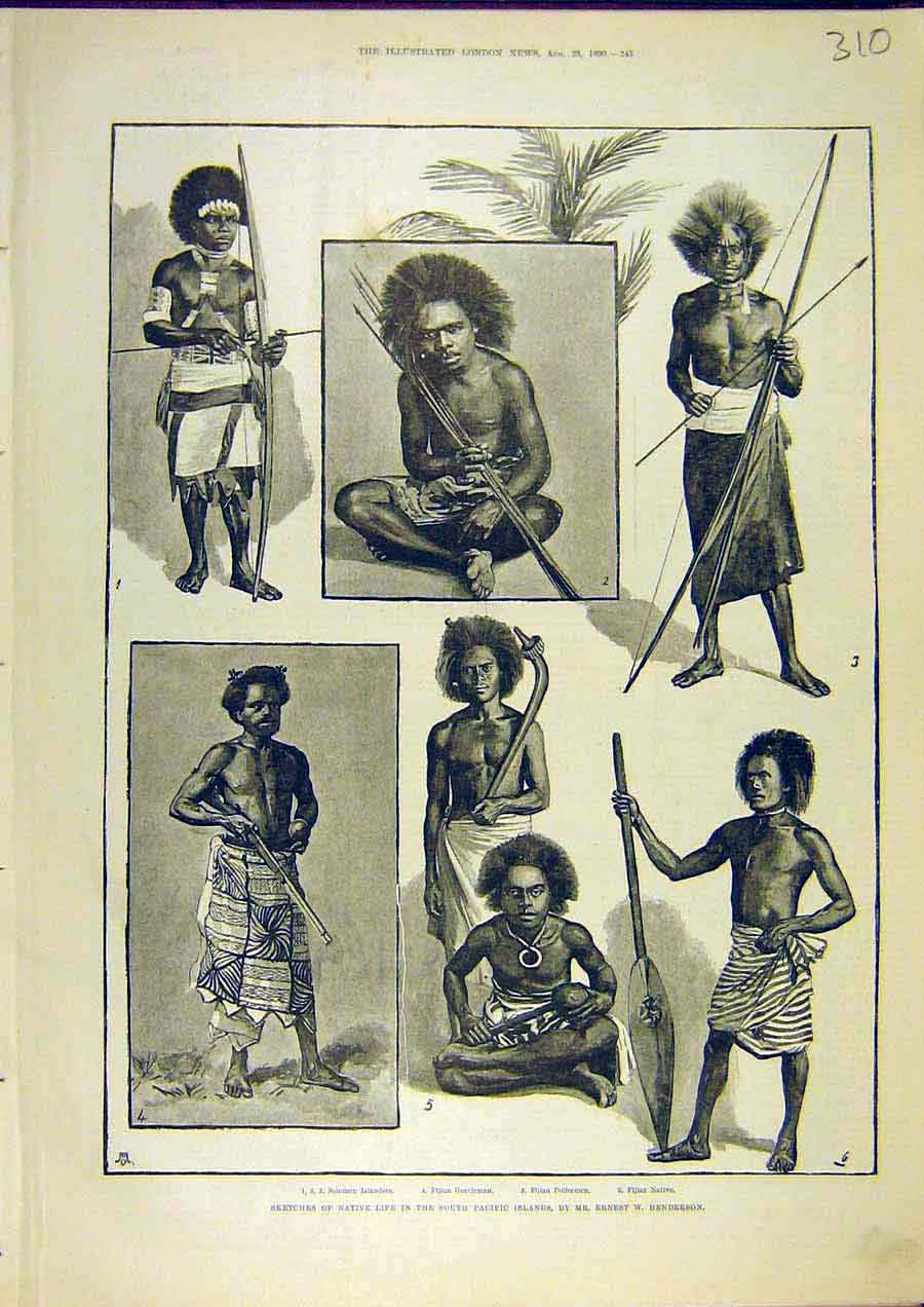Print Native Life South-Pacific Islands Henderson Sketch 1890 10Ccc1 Old Original