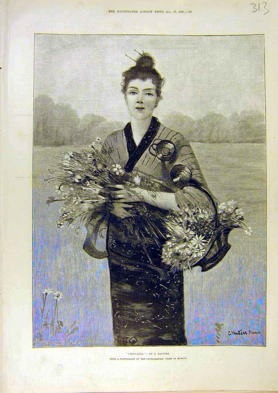 Print Pitty-Sing Vautier Portrait Lady Flower-Basket 1890 13Ccc1 Old Original