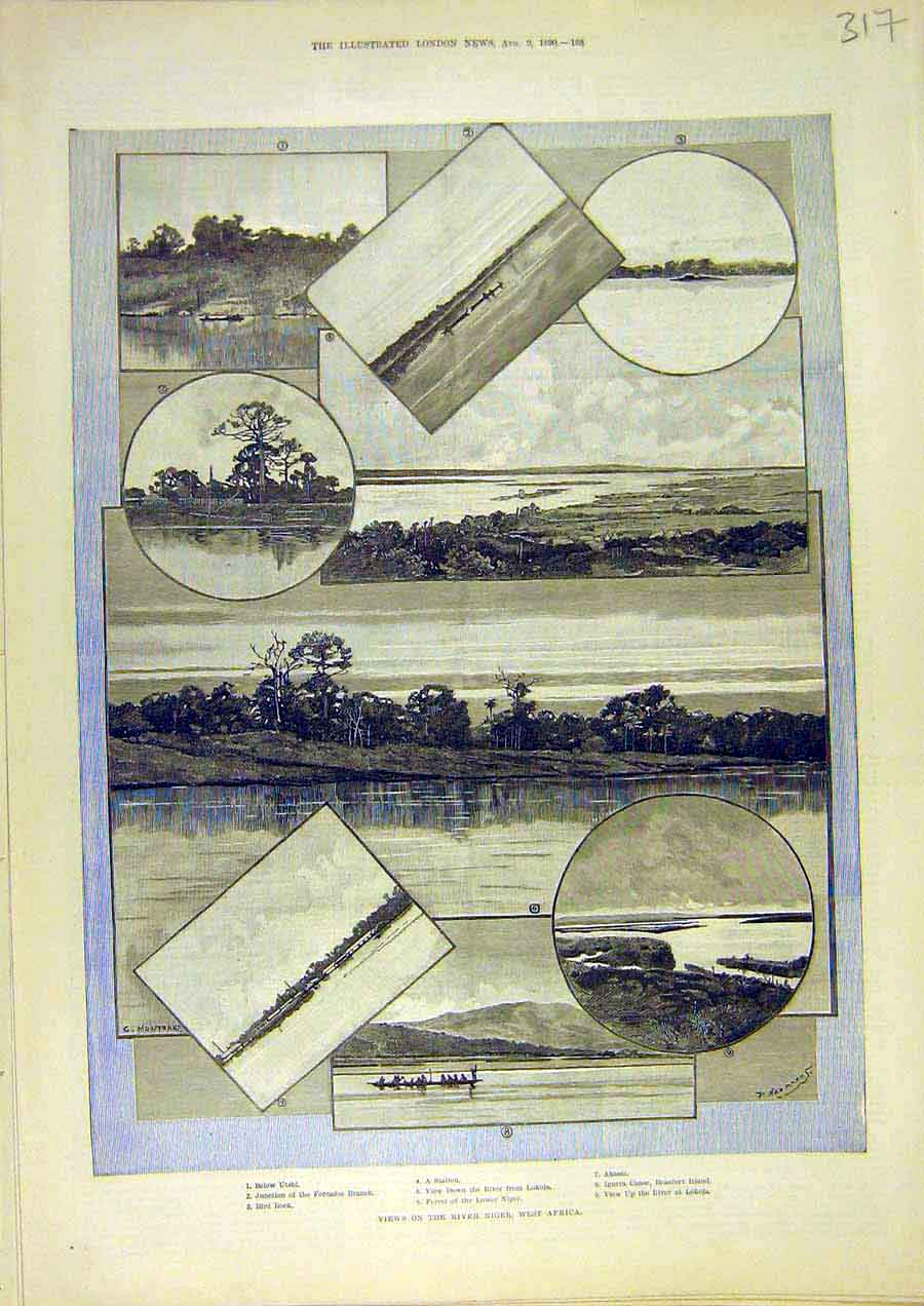 Print River Niger West-Africa View Lokoja 1890 17Ccc1 Old Original