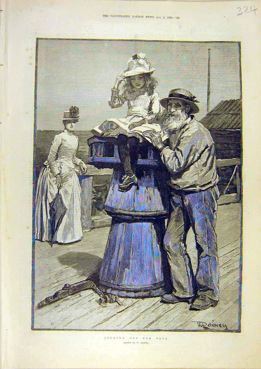 Print Papa Look-Out Rainey Sea-Side Child Old-Man 1890 24Ccc1 Old Original