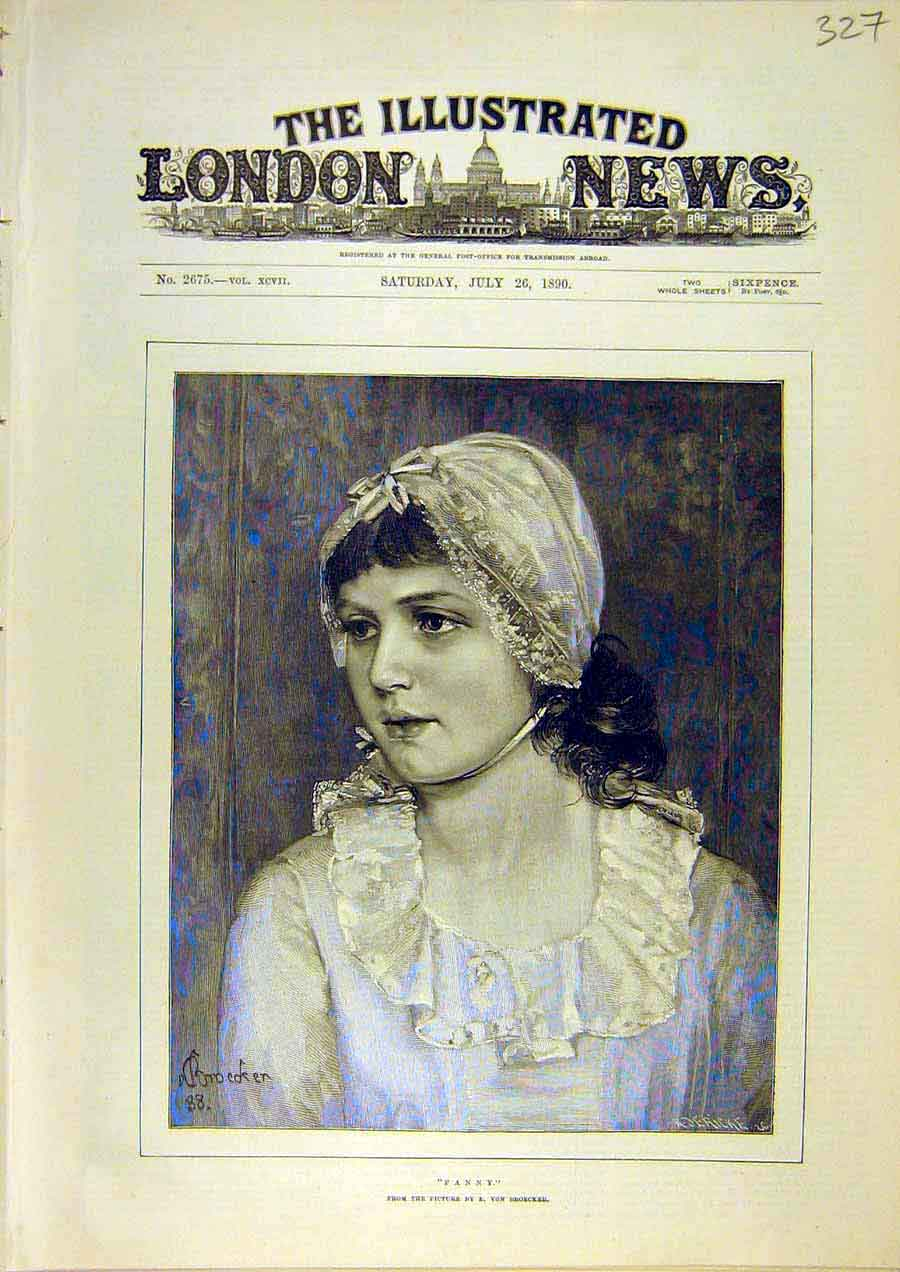 Print Fanny Portrait Lady Woman Broecker Young-Girl 1890 27Ccc1 Old Original
