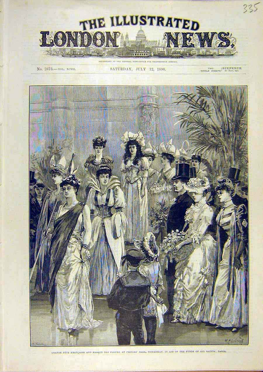 Print Fete French Masque Flower Piccadilly Prince'S Hall 1890 35Ccc1 Old Original
