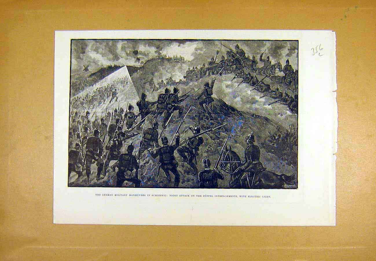 Print German Military Manoeuvres Schleswig Electric 1890 56Lccc1 Old Original