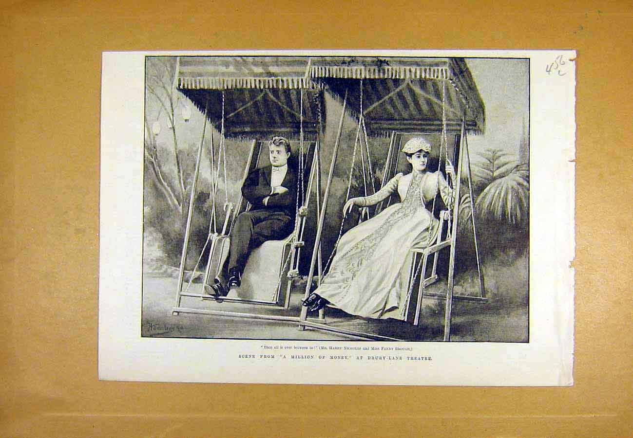 Print Million-Money Theatre Scene Nicholls Brough 1890 56Lccc1 Old Original