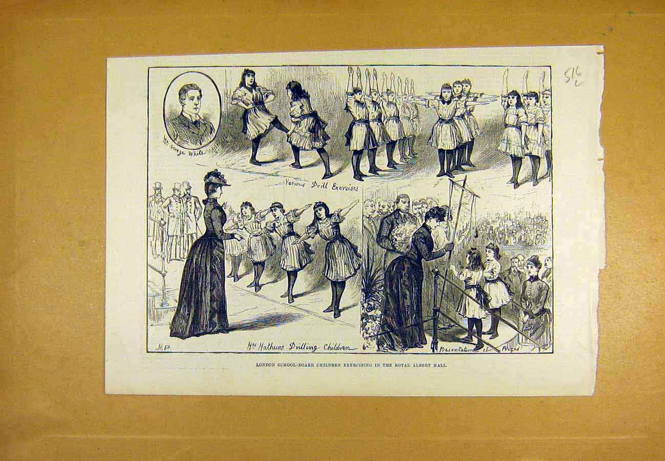 Print London School-Board Children Royal Albert Hall 1890 16Lccc1 Old Original
