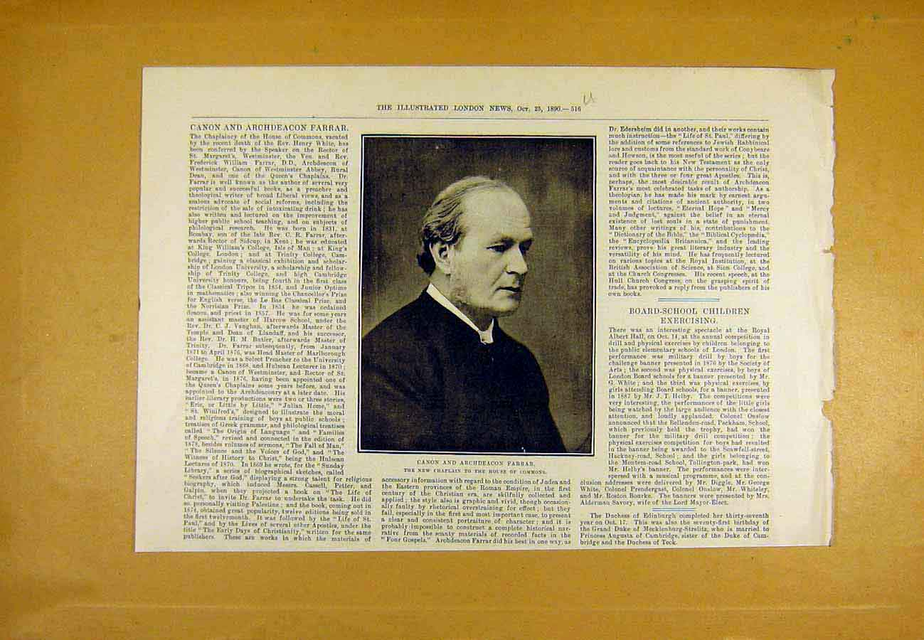 Print Portrait Canon Archdeacon Farrar House Commons 1890 16Uccc1 Old Original