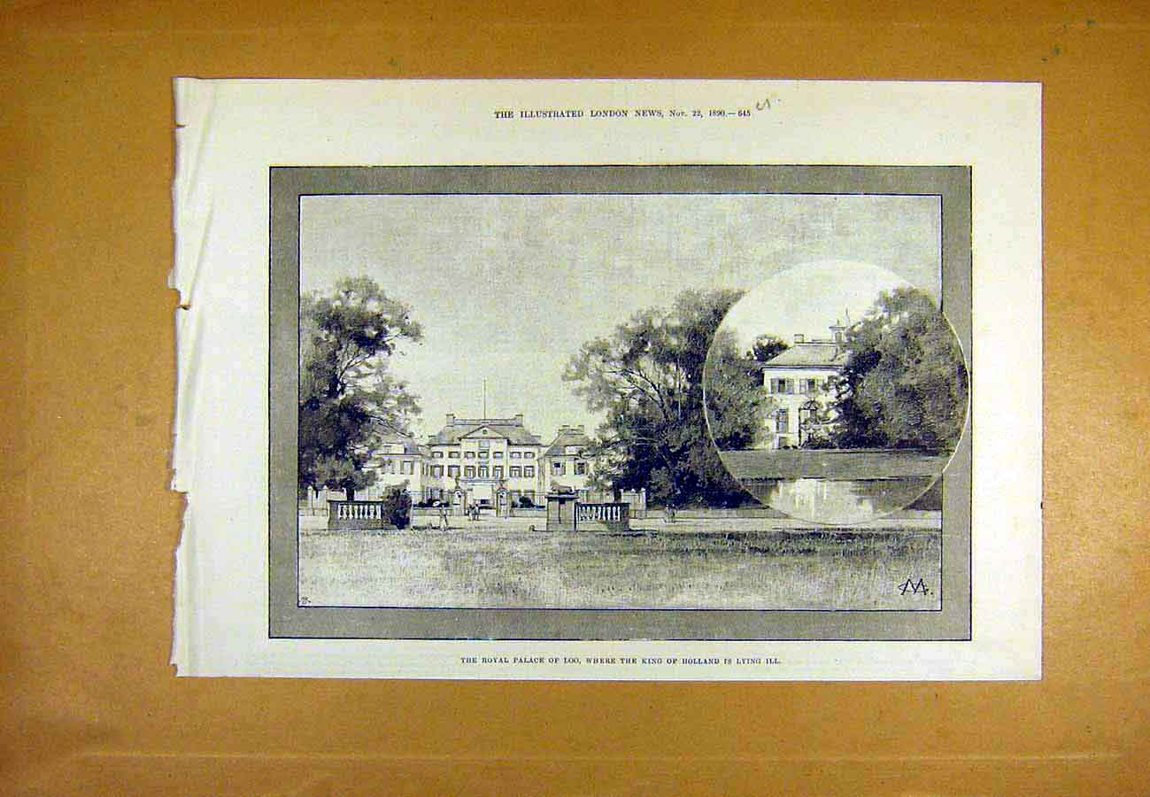 Print Royal Palace Loo King Holland Ill Building 1890 45Uccc1 Old Original