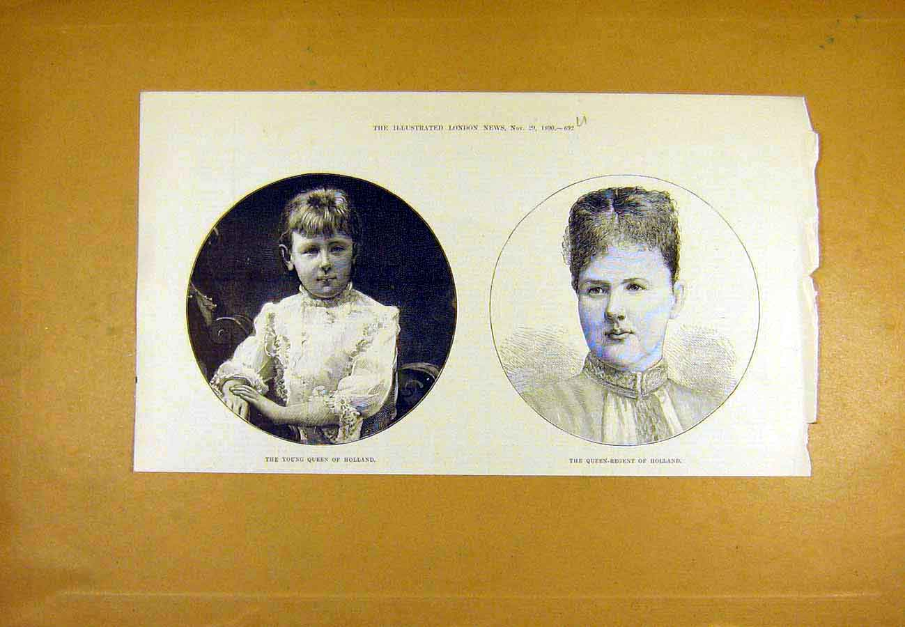 Print Queen-Regent Holland Portrait 1890 Dutch 92Uccc1 Old Original