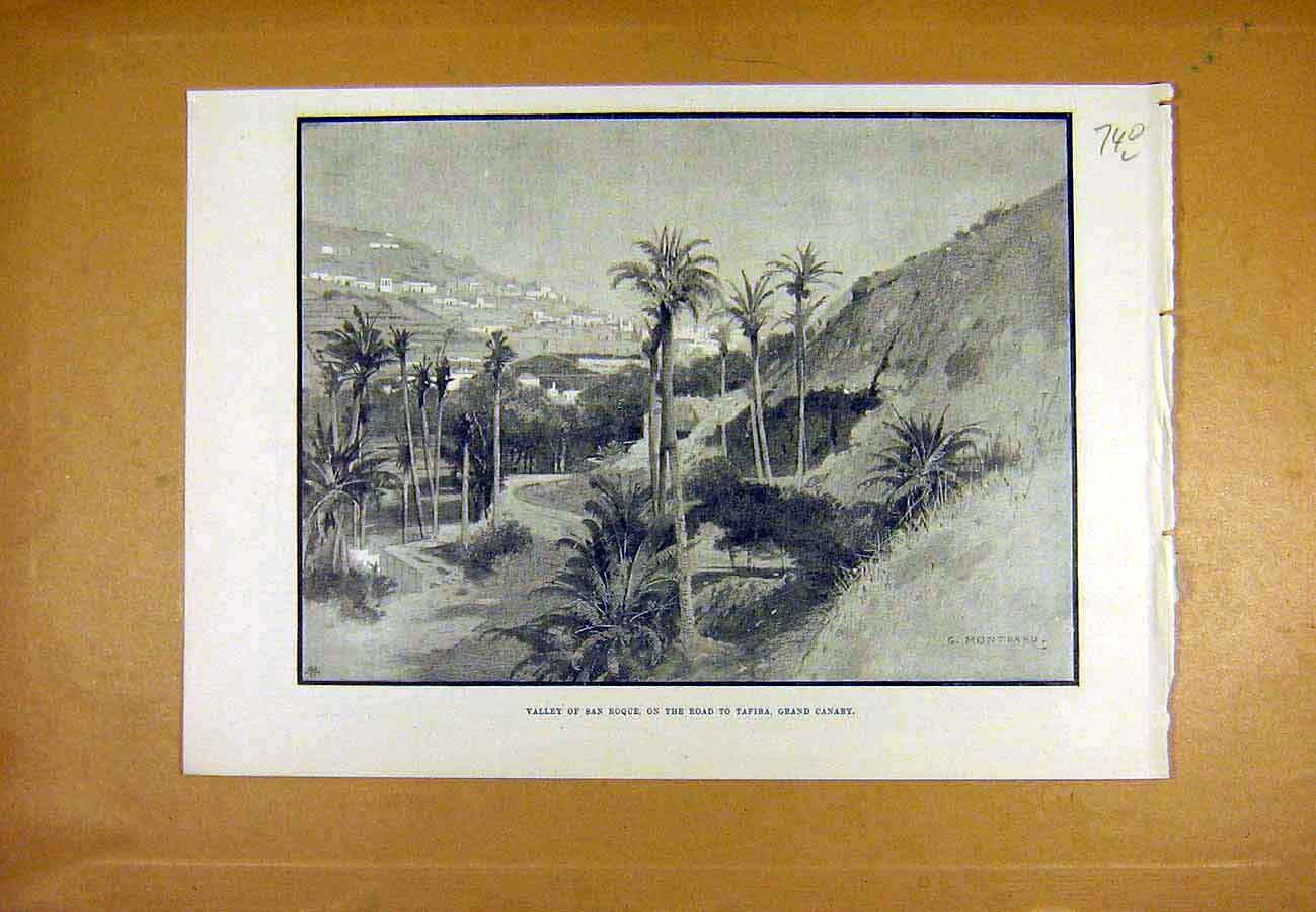Print San-Roque Tafira Grand-Canary Place Montbard 1890 40Lccc1 Old Original