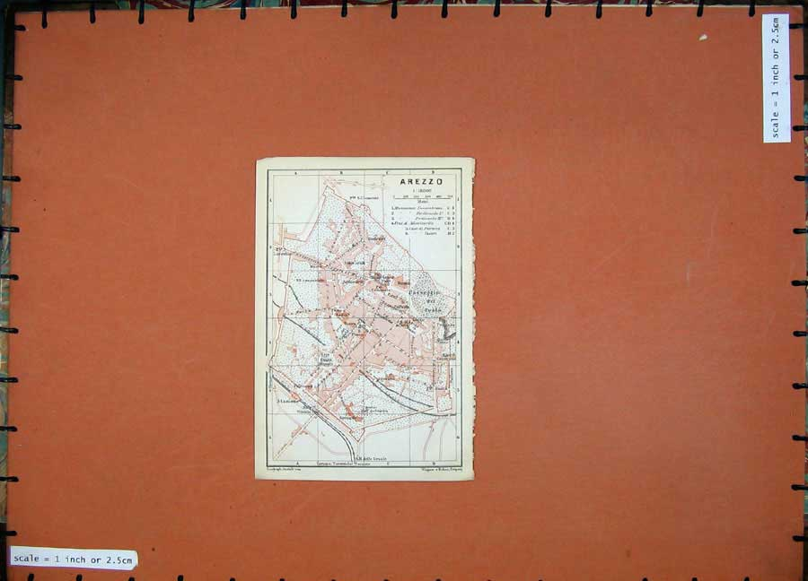 Print 1909 Colour Map Italy Street Plan Arezzo Stazione Prato 136D102 Old Original