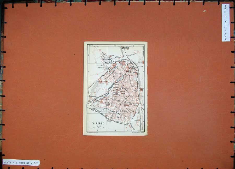 Print 1909 Colour Map Italy Street Plan Viterbo Romana Villa 143D102 Old Original