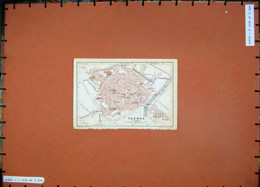 Print 1909 Colour Map Italy Street Plan Faenza River Lamone 144D102 Old Original