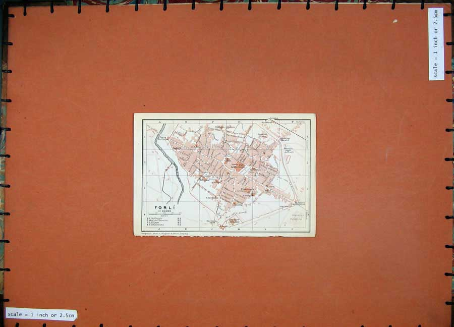 Print 1909 Colour Map Italy Street Plan Forli River Montone 145D102 Old Original