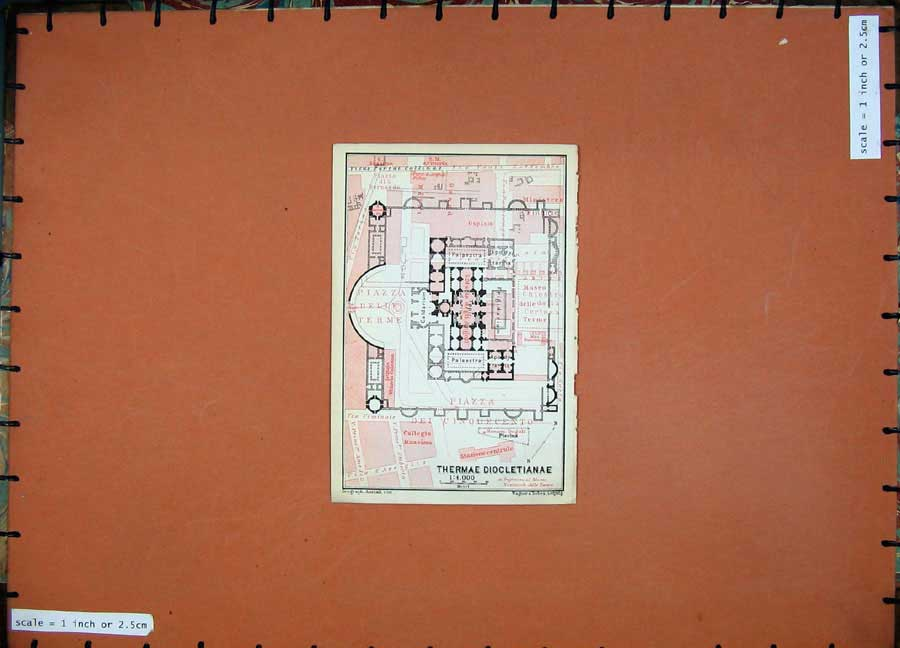 Print Colour Map 1909 Italy Plan Thermae Diocletianae Terme 149D102 Old Original