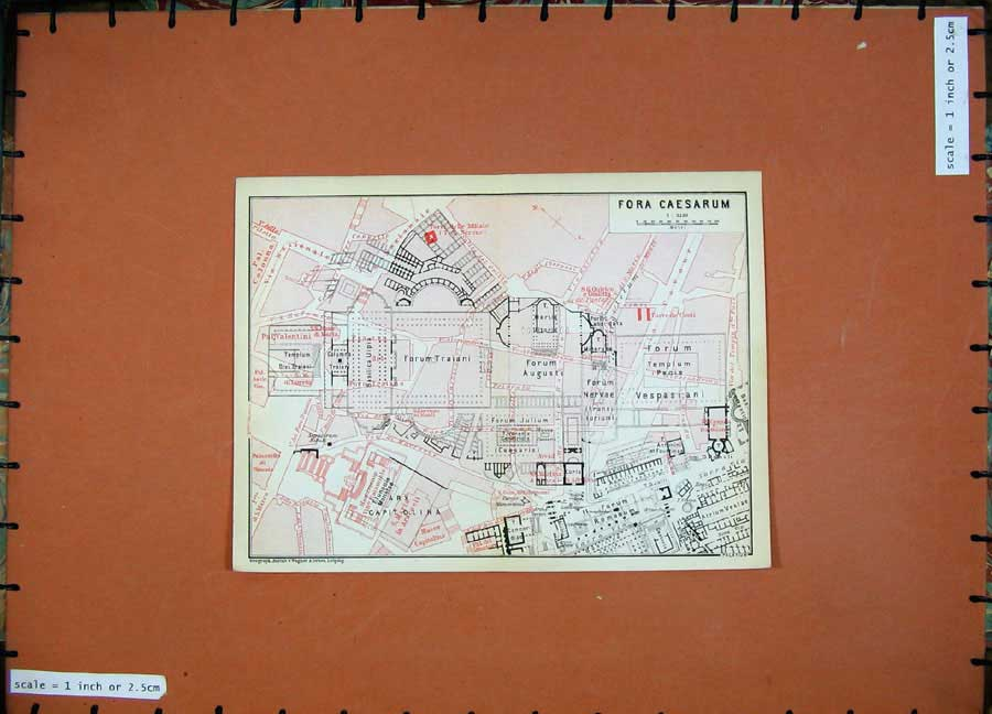 Print 1909 Colour Map Italy Street Plan For A Caesarum Forum 159D102 Old Original