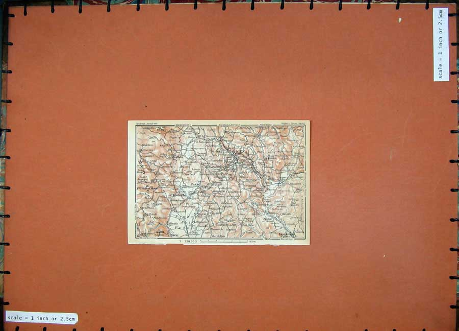 Print 1930 Colour Map Italy Siena Sovieille Monteroni Torri 202D103 Old Original