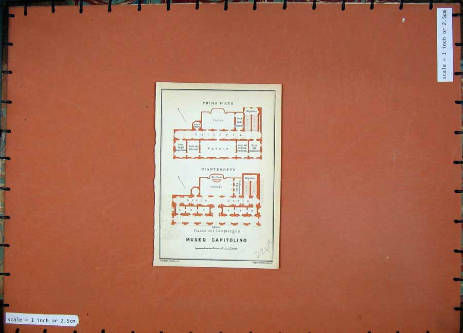 Print 1930 Colour Map Plan Palazzo Conservatori Museo 224Rd103 Old Original