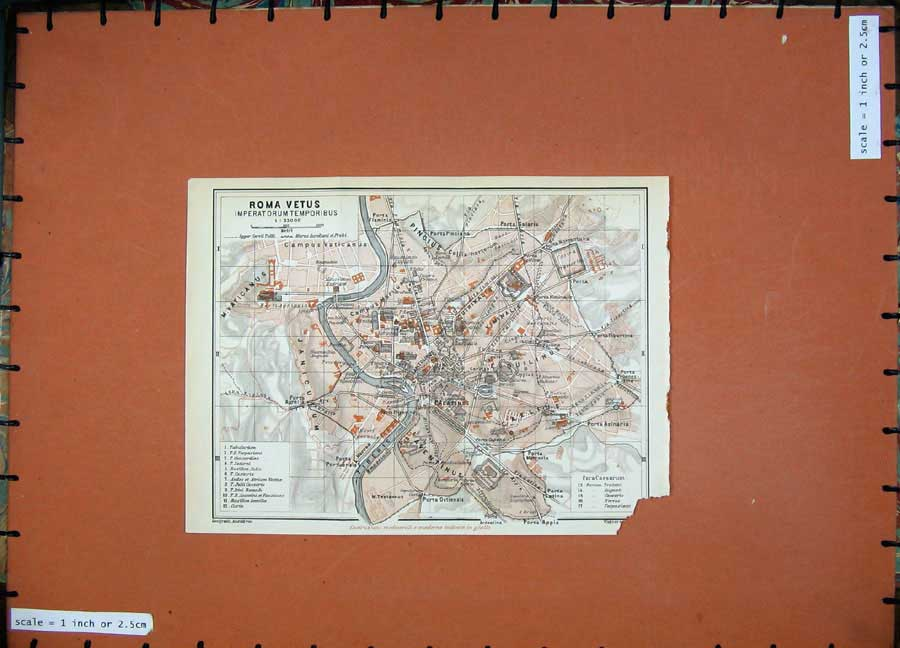 Print 1930 Map Italy Street Plan Roma Vetus Tiberis River 233D103 Old Original