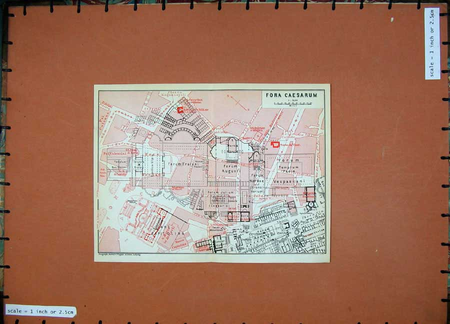 Print 1930 Colour Map Italy Plan For A Caesarum Forum 234D103 Old Original