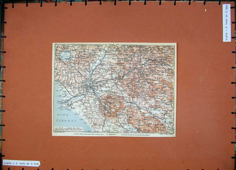 Print Colour Map Italy Roma Velletri Isola Mare Tirreno 236D103 Old Original