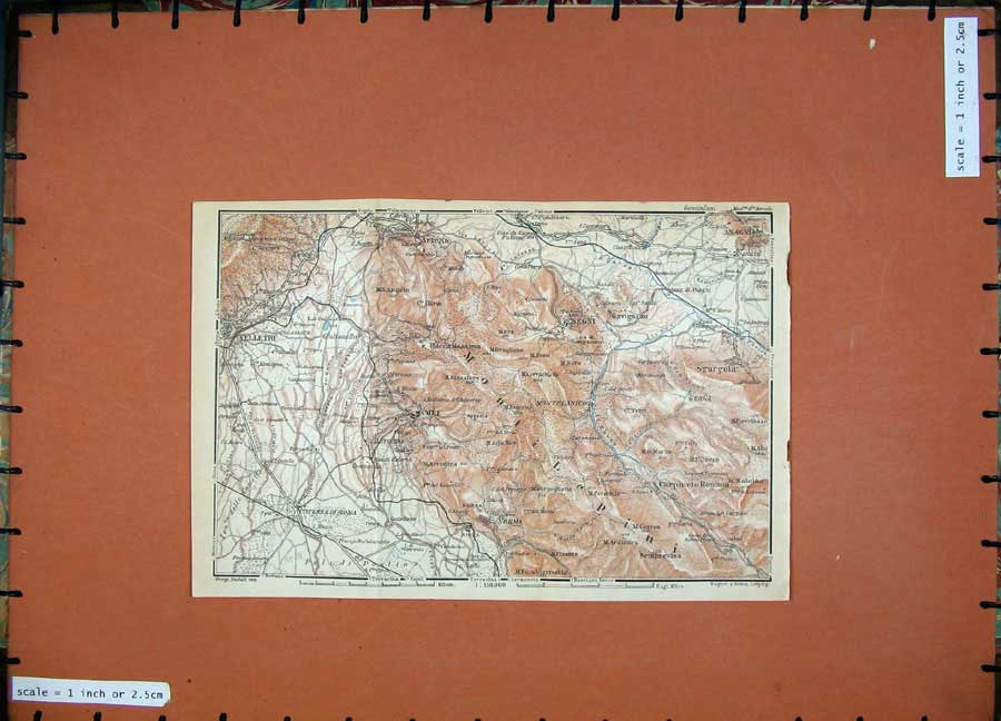 Print 1930 Colour Map Italy Velletri Segni Cori Artena 241D103 Old Original