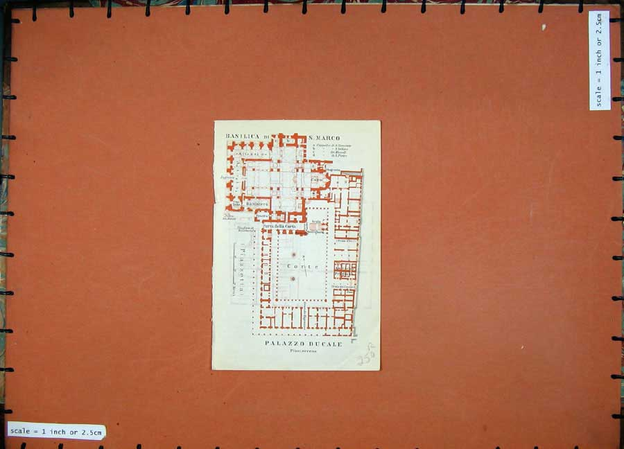 Print 1909 Map Italy Plan Basilica Marco Palazzo Ducale Corte 250Rd104 Old Original